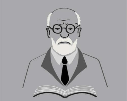 Sigmund Freud met een boek