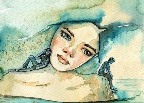 Schilderij van een meisje met herinneringen
