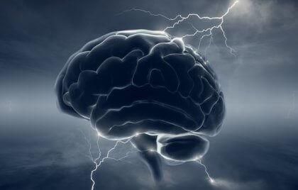 Hersenen waar bliksem inslaat