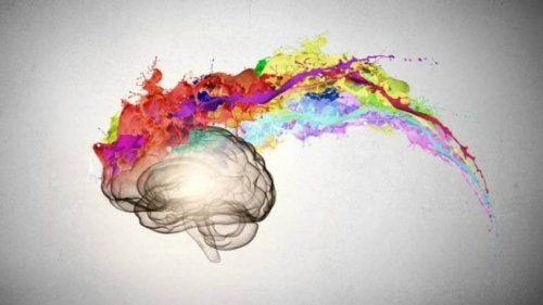 Hersenen omringd door felle kleuren
