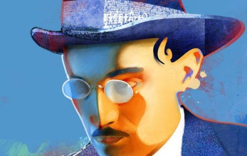 Illustratie van Fernando Pessoa auteur van het Boek der rusteloosheid