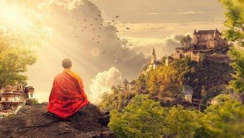 Boeddhistische monnik die mediteert
