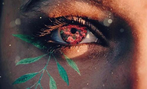 Het oog van een vrouw met bloemen