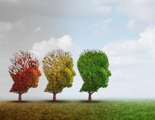 Drie bomen in de vorm van hoofden