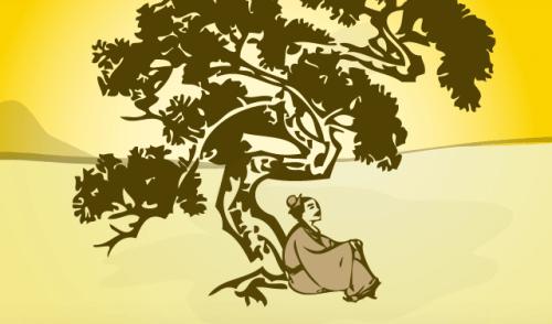 Bosgeesten man onder boom