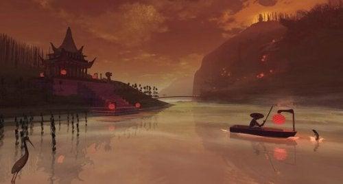bosgeesten bootje in de nacht