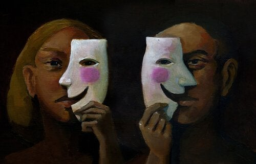 Man en vrouw met half masker