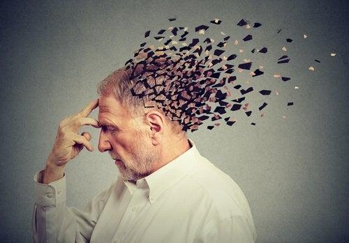 Hersenen van een man in duizend stukjes