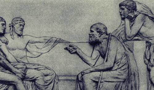 Socrates met zijn leerlingen