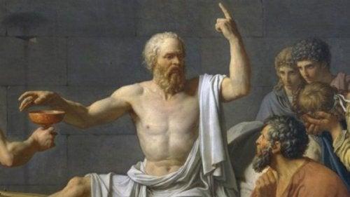 Socrates met wijsvinger in de lucht