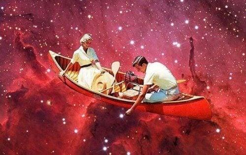 Twee mensen in een bootje die een relatiecontract hebben