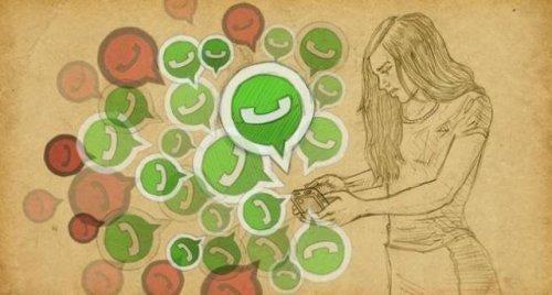 vrouw texting in relaties whatsapp