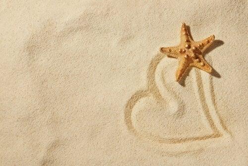 Zeester en een hartje in het zand