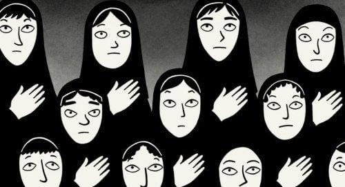 Gelovige vrouwen met hoofddoek
