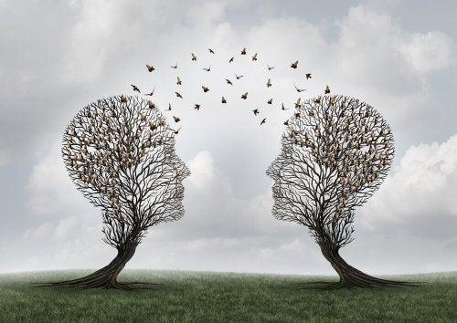 Twee bomen in de vorm van gezichten