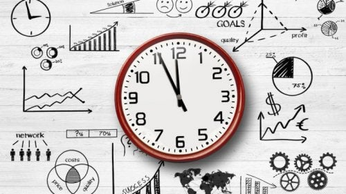 Tekening van een klok