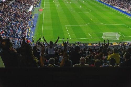 Foto van een voetbalwedstrijd