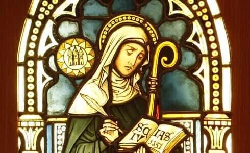 Heilige vrouw met boek in haar hand