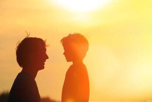 Het silhouette van een vader met zijn zoon