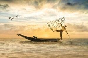 Visser balanceert op de rand van een boot