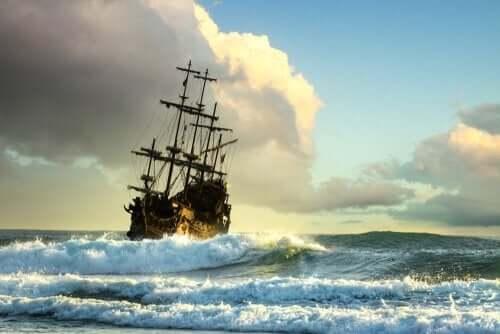 Schilderij van een schip op zee