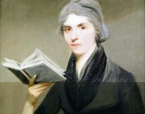 Een portret van Mary Wollstonecraft die een boek leest