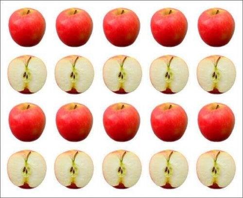 Appels en klokhuizen op een rij
