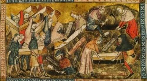 Een schilderij van pestslachtoffers
