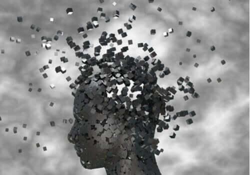 Een afbeelding van een hoofd dat uiteenbarst in kleine stukjes