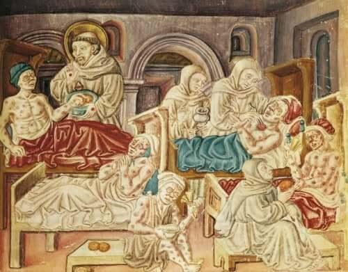 Een oud schilderij van slachtoffers van de Zwarte Dood