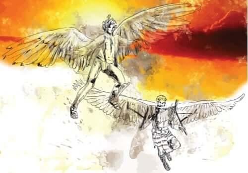 Een afbeelding van Daedalus en Icarus met vleugels