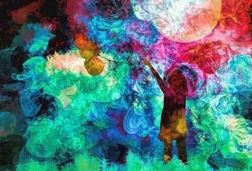 Een kleurrijke tekening van een kind