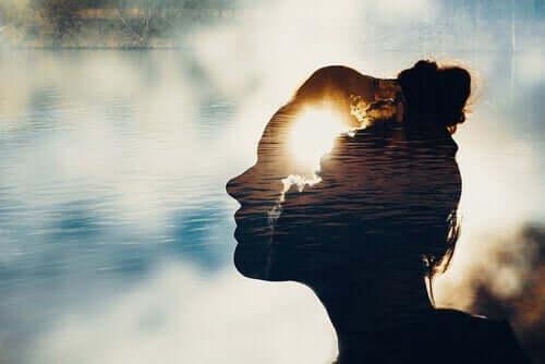 Het silhouette van een vrouw in een meer