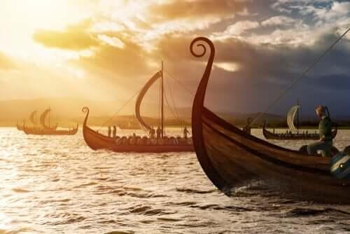 Vikingschepen op de oceaan