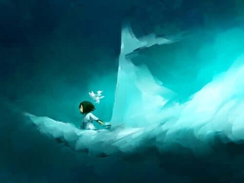 Een meisje zit op een wolk die eruit ziet als een zeilboot
