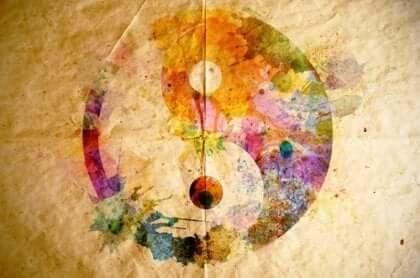 Een tekening van yin en yang