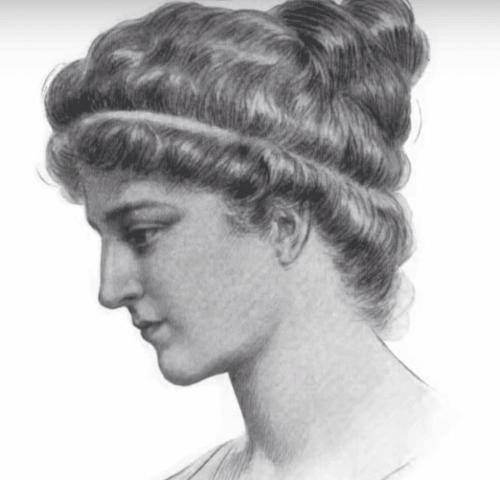 Een tekening van Hypatia