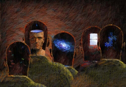 Een schilderij van transparante geesten