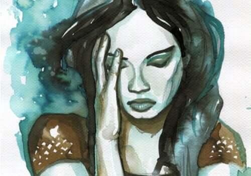 Eem aquarelschilderij van een vrouw