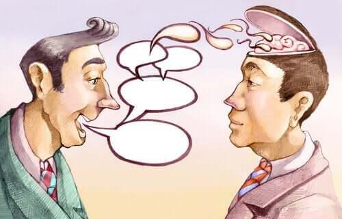 Een man manipuleert de taal in gesprek met andere man