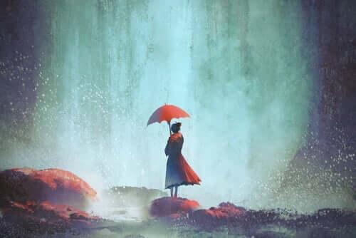 Een schilderij van een vrouw met een paraplu