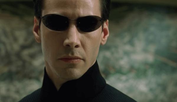 Een foto van Reeves in The Matrix