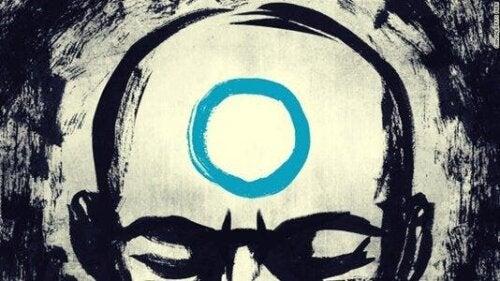 Een tekening van een man met een cirkel op zijn hoofd