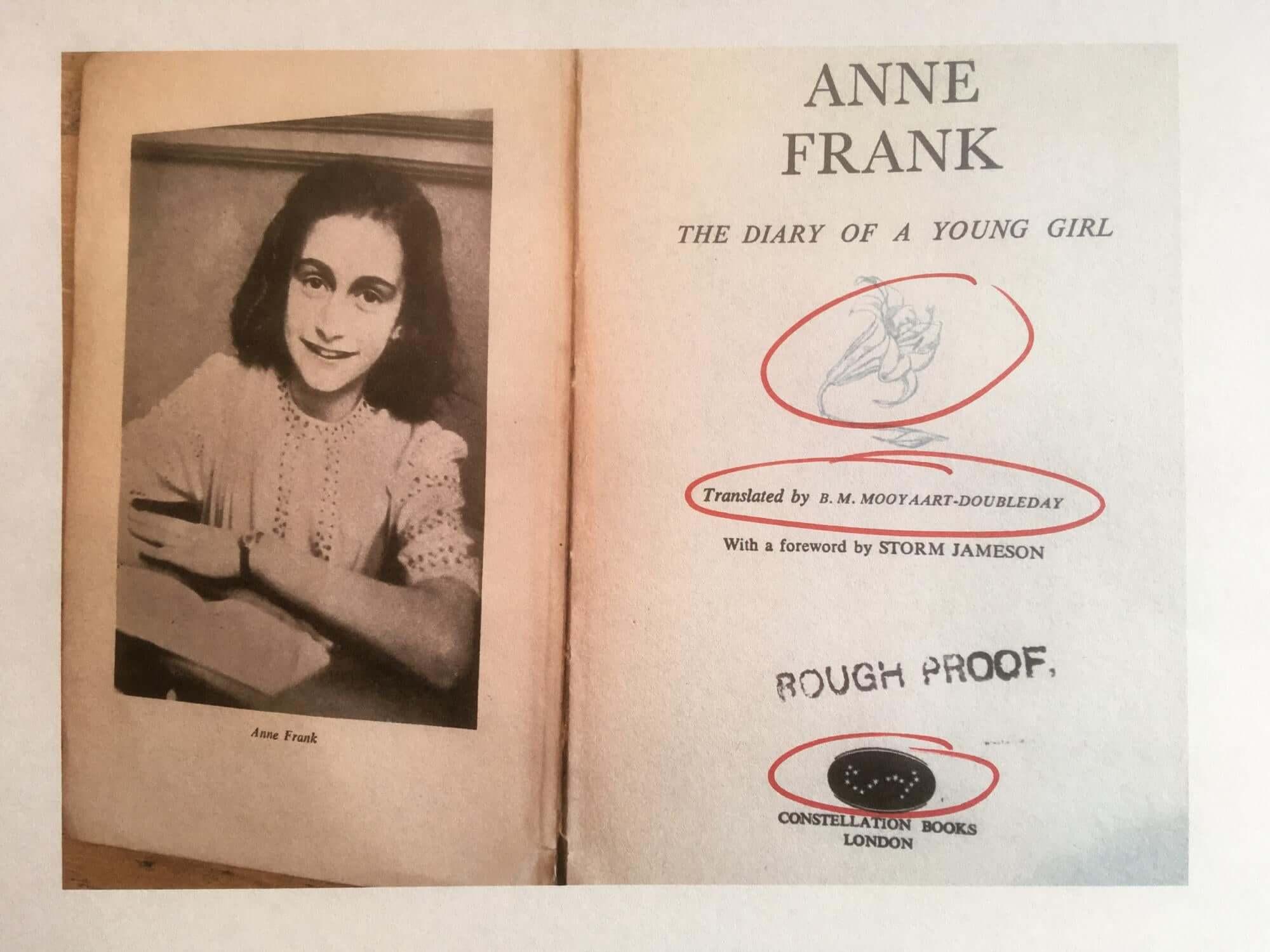 Blad uit dagboek van Anne Frank