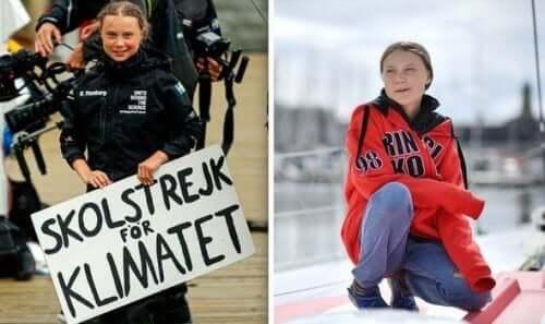 Greta Thunberg met een protestbord