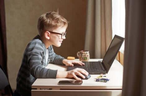 Jongen brengt veel tijd achter computer door
