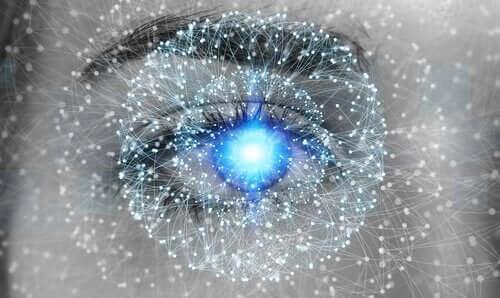 Een oog verlicht met lichtjes