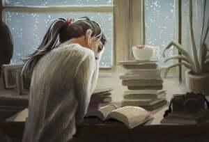 Een tekening van een meisje dat aan het lezen is