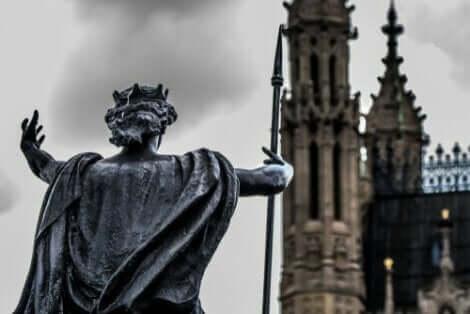 Een standbeeld van Boudicca in Westminster, Londen