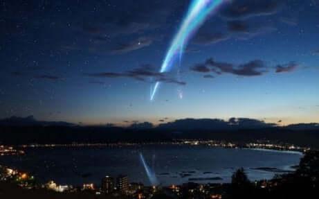 Een komeet daalt neer op aarde
